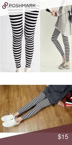 10d5c4d49b2ff New black and white horizontal stripes leggings Brand new fits a small Pants  Leggings Black And
