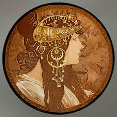 Mucha Byzantine Brunette, kilnfired stained glass. For sale at the Etsy shop of Stained Glass Elements. Mucha Serie - Byzantine Brunette  Gebrandschilderd glas  Doorsnede 15cm    Dit Mucha medallion is een halffabrikaat, klaar om toegepast te