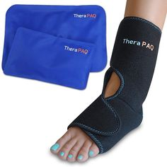 Foot & Ankle Pain Relief Ice Wrap with 2 Hot / Cold Gel Packs by TheraPAQ | Best for Achilles Tendon Injuries, Plantar Fasciitis, Bursitis & Sore Feet | Microwaveable, Freezable and...