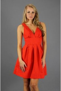 BB Dakota - Frederica Dress - Available at www.shop312.com - This red woven dress by BB Dakota has a front & back V-neck and a subtly pleated, banded waist. Invisible side zipper closure.