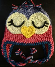 Baby Owl Beanie Crochet Size 6-18 mo by GrayBlossoms on Etsy, $18.00