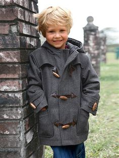 Boys' Duffle coat BLUE DARK SOLID+GREY MEDIUM MIXED COLOR