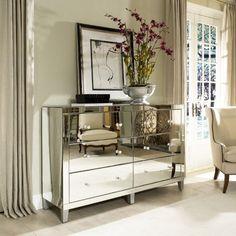 Glam Furniture, interior design, home decor, furniture, dressers, bedroom, mirrored furniture, mirrors, clear, Harlow Mirrored Dresser