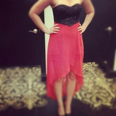 Red and black dress with pumps. Gorgeous for New years
