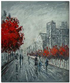 Artist Hand Painted Street Scene Red Tree Figurative Oil Painting On Canvas