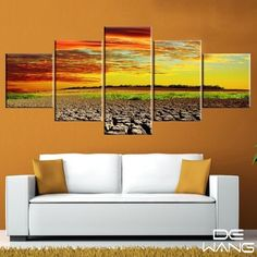 5 Pieces Canvas Wall Art Dry Land And Gold Blue Sky Canvas Wall Art Modern Panel Poster Print Living Room Oil Painting Drop-ship