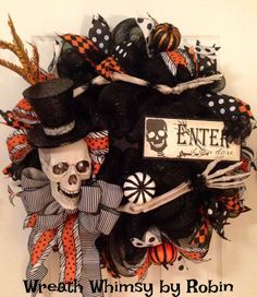 Hey, I found this really awesome Etsy listing at https://www.etsy.com/listing/205143344/halloween-skeleton-deco-mesh-wreath