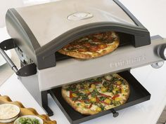 The Cuisinart CPO-600 Alfrescamore Portable Outdoor Pizza Oven goes where the party is. The gas-powered pizza oven supplies high heat for fast pizza cooking.