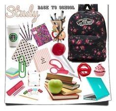 """""""new start"""" by jelena-topic5 ❤ liked on Polyvore featuring Vans, Harrods, ban.do, Kate Spade, Vera Bradley, Paper Mate, Speck, Fred, Urbanears and backpack"""
