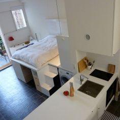 micro dwelling Rue Berthe by KoelhuisFRIGO Interior Architecture, Interior Design, Paris Design, Compact Living, Small Apartments, Toddler Bed, Kids Room, Bedroom, Furniture