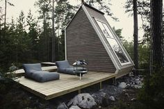 Finnish micro-house  The owner of the home, Robin Falck, designed it small enough so that he can avoid building permits in Finland which in that area means a structure less than either 96 or 128 square feet depending on where you end up building.    According to Robin, who guest posted over at Tiny House Listings, he was able to build the house in less than two weeks for less than $10,500.