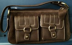 Brown suede and leather zip open small purse NWT Chaps #Chaps #Smallpurse