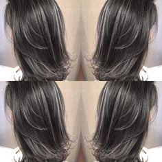 Brown Hair With Silver Highlights, Brown Hair Balayage, Hair Dyed Underneath, Grey Hair Transformation, Dark Brunette Hair, Middle Hair, Hair Streaks, Shoulder Hair, Hair Color For Black Hair