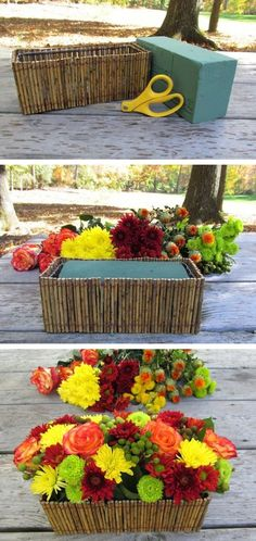 #11. Floral foam to the rescue! Use it to keep flowers in place, especially in odd shaped containers. -- 13 Clever Flower Arrangement Tips & Tricks