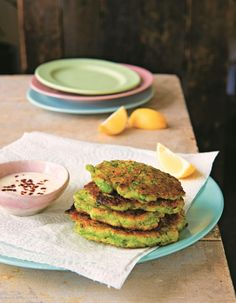 Pea and halloumi fritters from The National Trust Family Cookbook by Clare Thompson. Photo by Jill Mead.