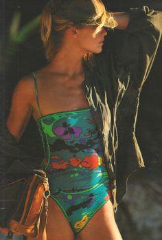 """Elle France August 6th, 1984  """"Kaki exotique""""  Model: Jette Storm  Photographer: Hans Feurer  Stylist: Carlyne Cerf de Dudzeele http://supermodelobsession.tumblr.com #bathing suit"""