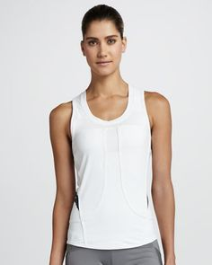 Performance Running Tank, White by Adidas by Stella McCartney at Neiman Marcus.