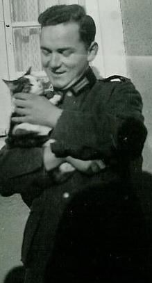 German soldier with cat