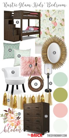 Rustic Glam Girls Bedroom Mood Board featuring gold, blush pink, mint green, aqua and rustic wood.