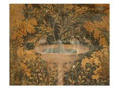 Roman Fresco from the Oplonti Villa in Pompeii Depicting a Birdbath and a Pair of Birds