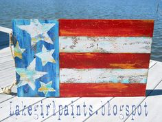 Lake Girl Paints: Stars and Stripes Colorsplash ~ tutorial (would look awesome out on the deck for the holidays!)