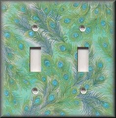 Light Switch Plate Cover - Swirling Peacock Feathers - Green - Home Decor