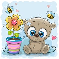 Greeting card bear with flower Royalty Free Vector Image Cartoon Monkey, Cartoon Clip, Cute Cartoon, Cute Images, Cute Pictures, Kids Cartoon Characters, Image Nature, Blue Nose Friends, Owning A Cat