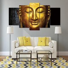 The Golden Buddha Painting Modern Poster Canvas Picture Art Wall Home Decor Buddha Canvas, Buddha Wall Art, Buddha Decor, Buddha Painting, 5 Piece Canvas Art, Large Canvas Prints, Canvas Canvas, Framed Canvas, Painting Canvas