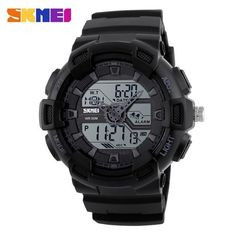 SKMEI 1189 Men Sport Digital Wristwatches Chronograph Alarm Clock Outdoor Full Black Dual Time Display Watches