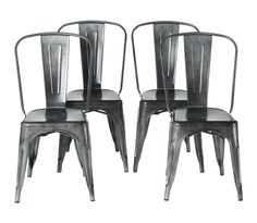 PoliVaz Tolix Inspired Cafe Chair, Gun Metal Steel (Set of 4). Set of 4 chairs stacked in 1 box. No Assembly required. Strong grade a steel frame with welded joints. European style reminiscent of Paris cafe seating. Easy to clean and store, feet caps protect floors. Gun metal galvanized finish that is weatherproof. Great for indoor and outdoor settings.
