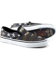 TIN HAUL Merica American Flag Patriot Skate Canvas Slip On Shoes Men US 9 #TinHaul #FashionSneakers