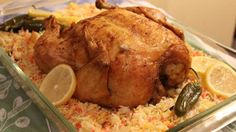 Chicken Mandi with Rice :Mandi is  the traditional dish of Hadhramaut and many other Yemeni cities.It is now very popular in the rest of the Arabian Peninsula and in many other Arab countries, such as Egypt and Jordan. The word mandi comes from the Arabic word nada, meaning dew, and reflects the moist 'dewy' texture of the meat.Mandi is usually made from rice, meat (lamb or chicken), and a mixture of spices.