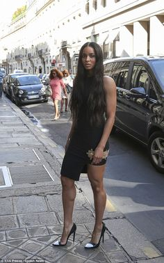 Thigh appeal: On Sunday Ciara went for a stroll around Paris in a figure hugging little bl...