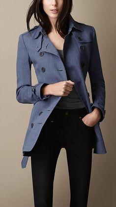 Burberry Brit Short Polka Dot Undercollar Trench Coat