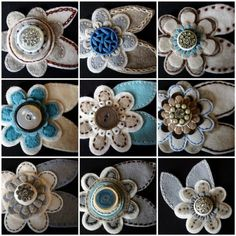 flowers made from buttons and felt. This would be cute on a pillow.