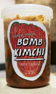 Bomb Kimchi by Christopher J. Lee, via Behance Food Packaging Design, Brand Packaging, Korean Kimchi, Kimchi Recipe, Product Label, Food Labels, Minimalist Kitchen, Korean Food, Package Design