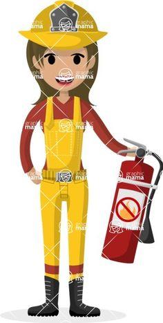 Female firefighter vector cartoon illustration #profession ...