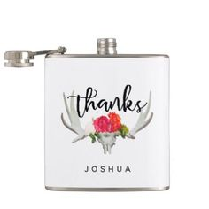 Shabby Chic Deer Horn Groomsmen Flask - chic design idea diy elegant beautiful stylish modern exclusive trendy