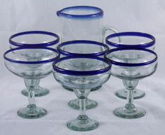 Hand Blown Mexican Glass Straight Sided 2 Qt Pitcher and 6 Margarita Glasses Cobalt Blue Rims, 17oz.  http://www.ebay.com/itm/Mexican-Glass-Straight-Sided-Pitcher-and-6-Margarita-Glasses-Cobalt-Blue-Rims-/321510171997?ssPageName=STRK:MESE:IT