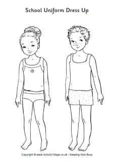School uniform dress up dolls
