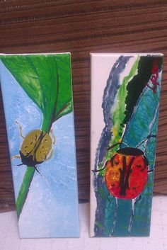 two insects on leaf - Original Acrylic paintings by Lipson. (c) 2012