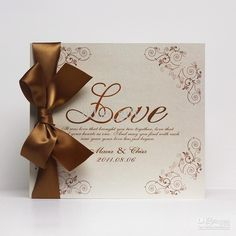 Wholesale Love Wedding Invitation Card with Chocolate Bow (Set of 100) Printable amp; Customizable, Free shipping, $1.03-1.3/Piece | DHgate