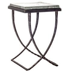 """Talmadge Drink Table by Charleston Forge with a thick piece of hand poured glass for the table top: Dimensions W 15"""" x D 15.5"""" x H 23"""""""
