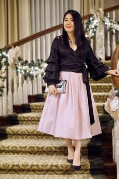 A Guide for choosing the Perfect Clutch with Beau Satchelle Michigan over 40 petite fashion blog blogger Christmas party look black wrap tie top + blush full skirt + Beau Satchelle silver Grace clutch + black pumps