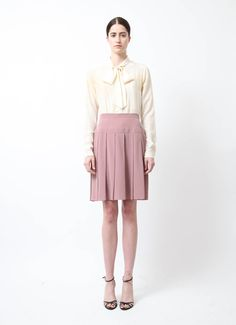 Chanel | Mauve Pleated Silk Skirt | RESEE
