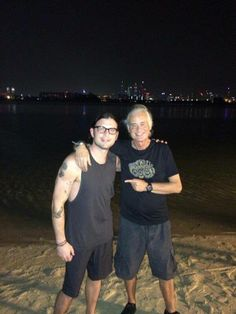 Jimmy Page on the beach with the Kings of Leon in Dubai May 28, 2014