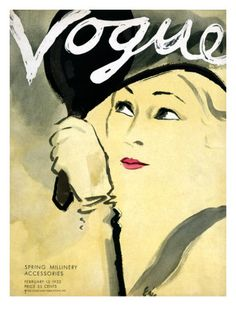 "Vogue Cover - February 15 1932 Poster Print by Carl ""Eric"" Erickson at the Condé Nast Collection"