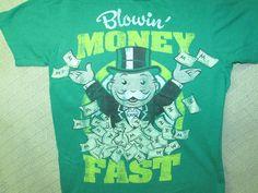 Hasbro Monopoly T SHIRT Moneybags BLOWIN' MONEY Green Tee Size Small 2011 Cotton #Hasbro #GraphicTee