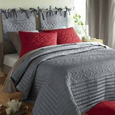 New Bedroom Grey And Red Bed Sets Ideas - Schlafzimmer Baby Bedroom Sets, Gray Bedroom, Trendy Bedroom, Bedroom Colors, Home Decor Bedroom, Bedroom Ideas, Red Bedding Sets, Red Comforter, Grey Bedding