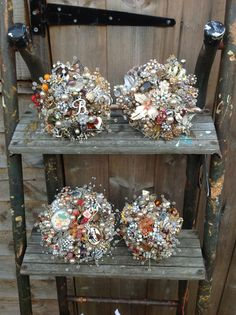 A collection of bridal and bridesmaid brooch bouquets - stunning!